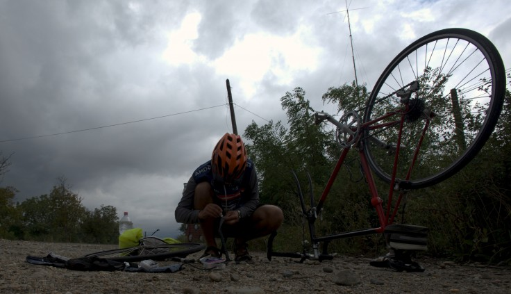 The first puncture of the trip, but it wasn't on our bikes.