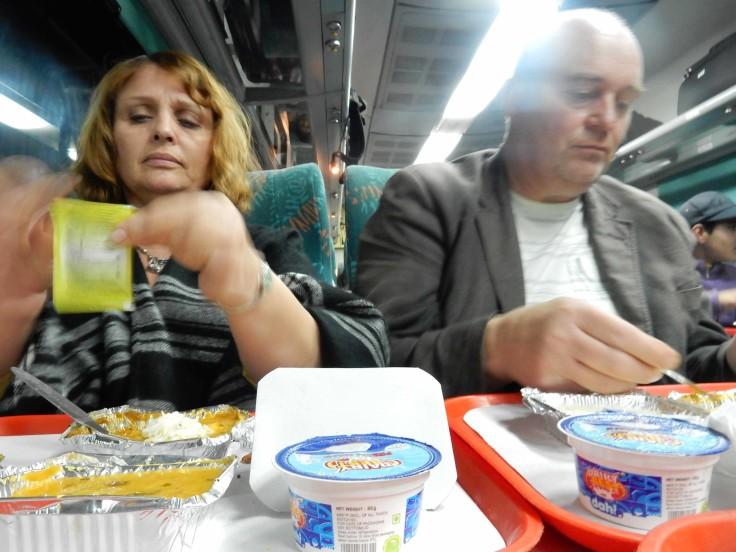 Masons enjoying the train grub